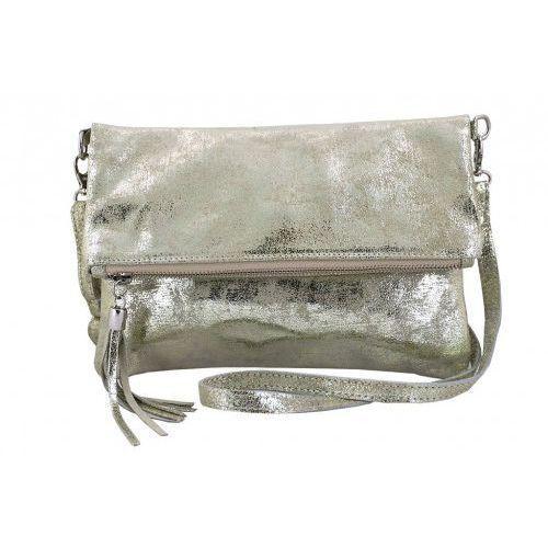 Modne torebki listonoszki ze skóry metalizowanej - Barberini's - Złoty