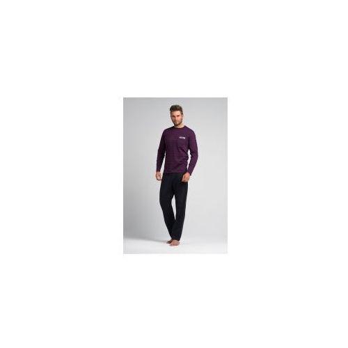 Bawełniana piżama męska w paski Rossli SAM-PY-054 fioletowa