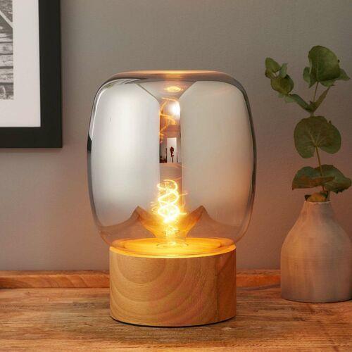 Lampa stołowa paddock drewno / szkło, przełącznik marki Fabas luce