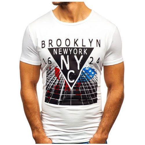 T-shirt męski z nadrukiem biały denley ky31 marki J.style