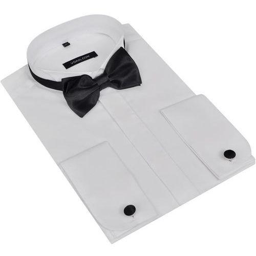 Męska koszula smokingowa ze spinkami do mankietów i muszka m biała marki Vidaxl