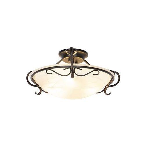 Honsel Klasyczna lampa sufitowa brązowa z opalowym szkłem - unico