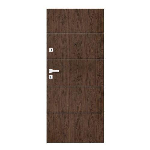 Drzwi zewnętrzne drewniane Dominos Alu 90 prawe orzech naturalny