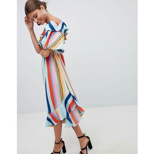 bold stripe midi dress - multi marki Boohoo