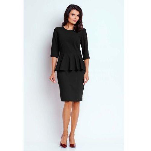 Czarna Wizytowa Sukienka Midi z Baskinką, w 5 rozmiarach