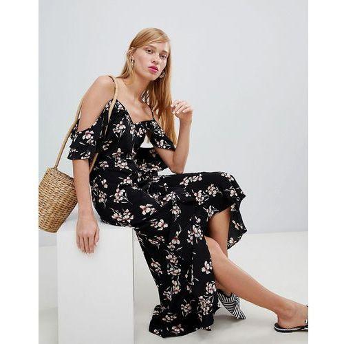 New Look Wrap Cold Shoulder Maxi Dress - Black