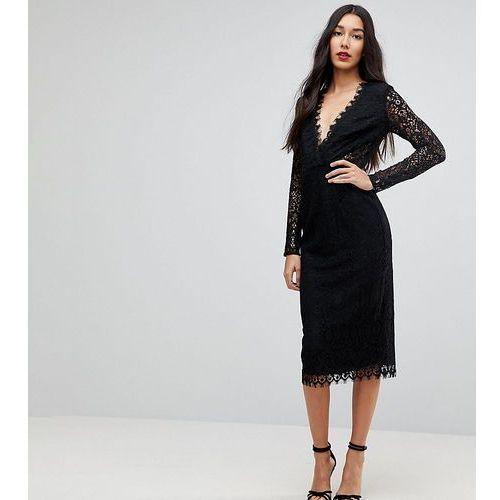 ASOS TALL Long Sleeve Lace Midi Pencil Dress - Black, kolor czarny