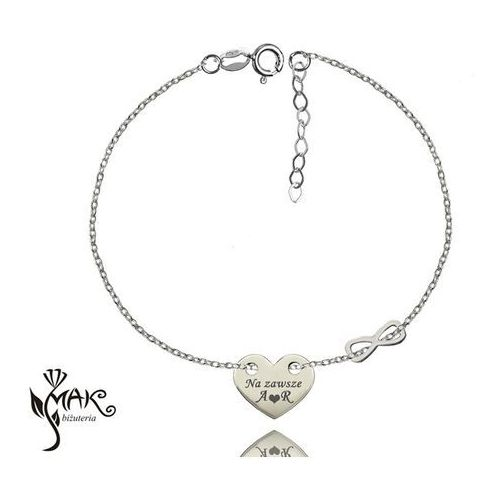 Br836 bransoletka grawerunek laser celebrytka serce infinity srebro 925 marki Mak-biżuteria