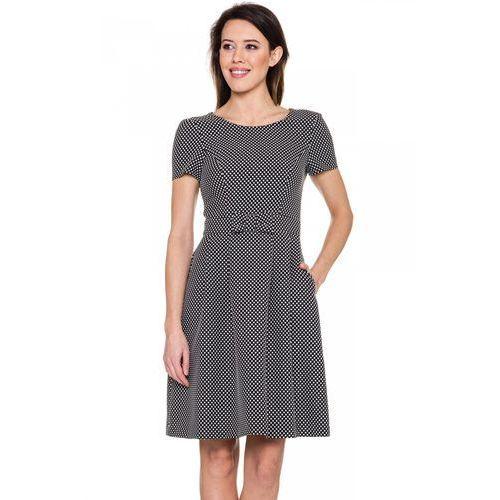 Czarna, rozkloszwana sukienka w groszki - Bialcon, kolor czarny