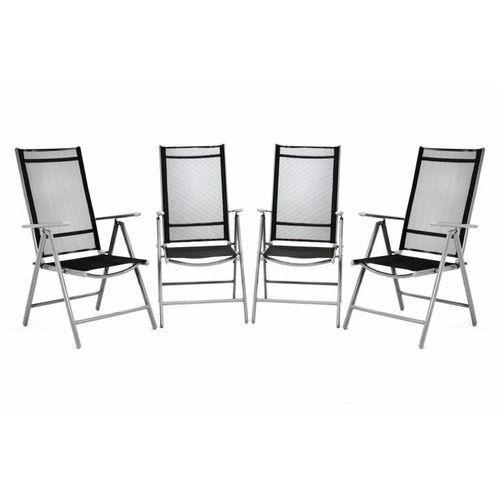 Komplet 4 krzesła aluminiowe rozkładane ogrodowe Garth czarne
