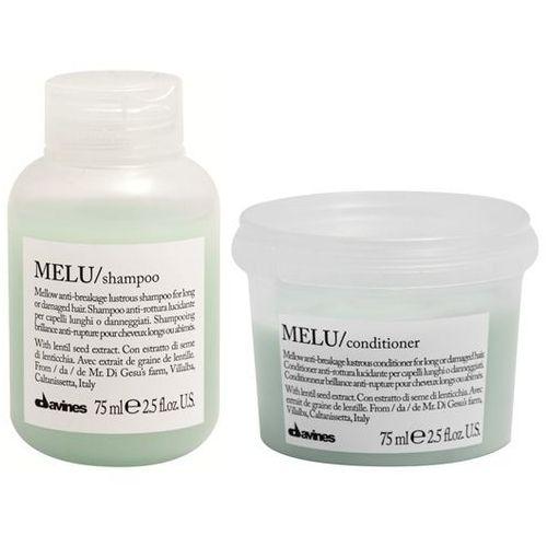 Davines melu | mini zestaw do włosów kruchych i łamliwych: szampon+odżywka 2x75ml (9753197531211)