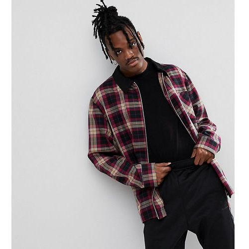 Reclaimed vintage inspired check coach jacket with contrast collar - red