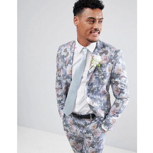 wedding skinny fit suit jacket with floral print in multi - multi marki Boohooman