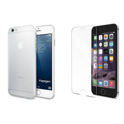 Sgp - spigen / perfect glass Zestaw | spigen sgp airskin przezroczysty | obudowa + szkło ochronne perfect glass dla modelu apple iphone 6 / 6s