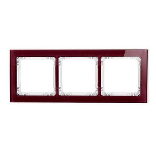 Karlik Ramka potrójna deco 14-0-drs-3 efekt szkła ramka bordowa spód biały