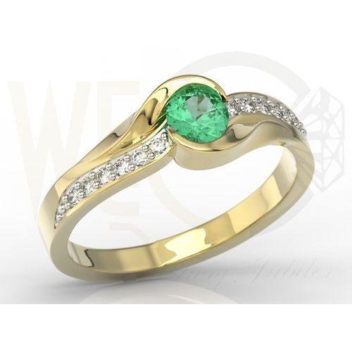 Węc - twój jubiler Pierścionek z żółtego złota ze szmaragdem i diamentami model ap-6139z-r