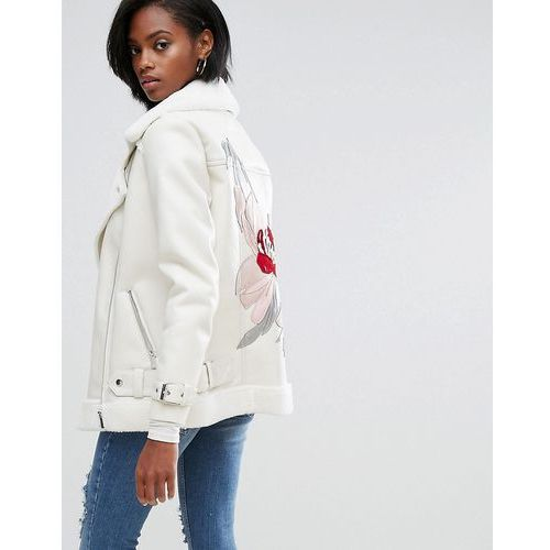River island  embroidered back faux fur aviator jacket - cream