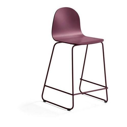 Krzesło barowe GANDER, płozy, siedzisko 630 mm, lakierowany, ciemnoczerwony, kolor czerwony