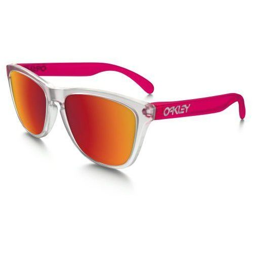 Okulary frogskins colorblock matte clear transparent pink torch iridium oo9013-b3 marki Oakley