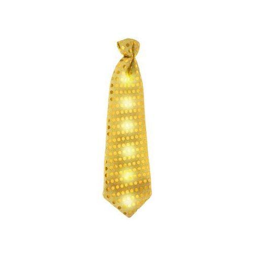 Krawat świecący z cekinami złoty - 30 cm - 1 szt.