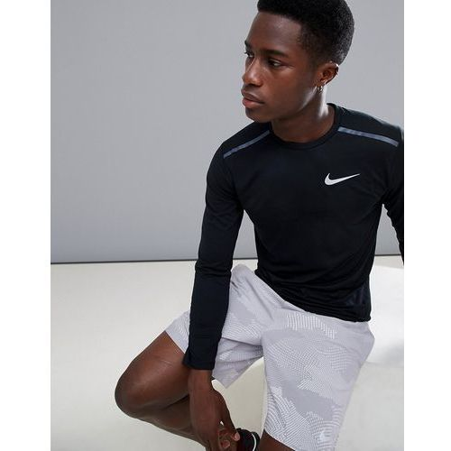 Nike running tailwind breathe long sleeve top in black 891490-010 - black