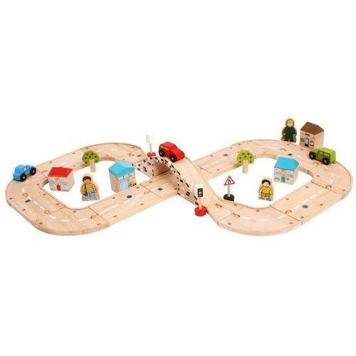 Kolejka drewniana do zabawy dla dzieci - Rondo w Kształcie Ósemki, Bigjigs