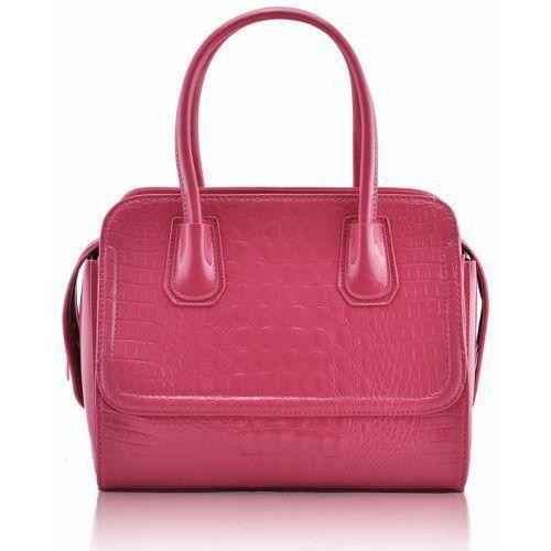 Lakierowana różowa torebka damska skóra krokodyla - różowy, kolor różowy
