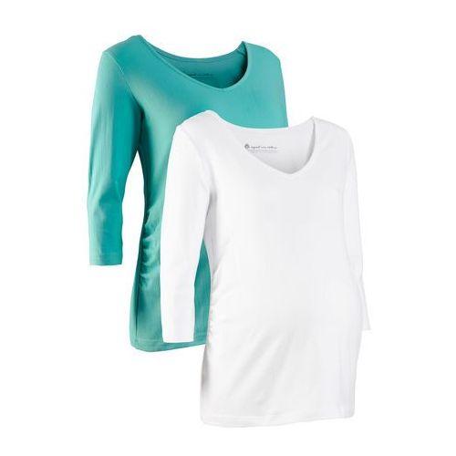 Shirt ciążowy z rękawami 3/4 (2 szt.), bawełna organiczna bonprix biały + zielony oceaniczny, kolor wielokolorowy
