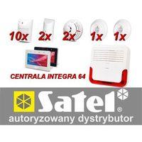 Zestaw alarmowy integra 64, klawiatura dotykowa, 10 czujników ruchu, 2 czujniki ruchu dualne, 2 czujniki zalania, 2 czujni marki Satel