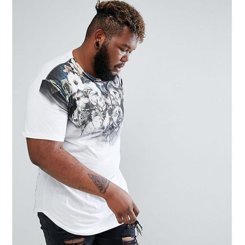 plus longline t-shirt with floral skull print and curved hem - white, Religion, XXL-XXXXL