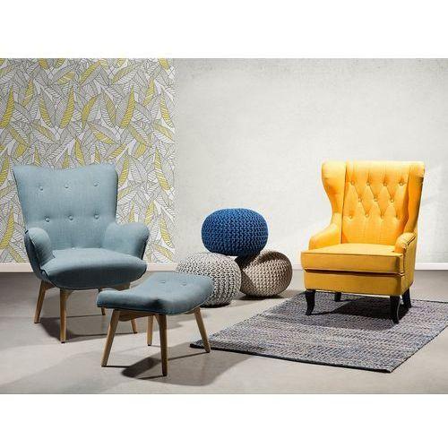 Fotel niebieski + pufa - fotel tapicerowany - krzesło - vejle marki Beliani