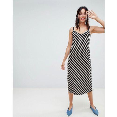 Stradivarius diagonal stripe dress - Beige