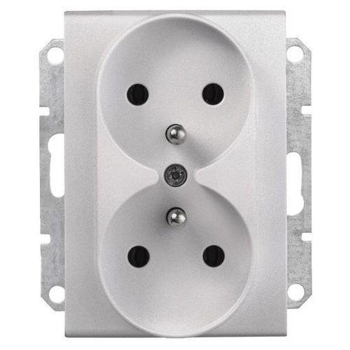 SEDNA Gniazdo 2 podwójne z uziemieniem do systemu ramkowego aluminium SDN2800960 SCHNEIDER