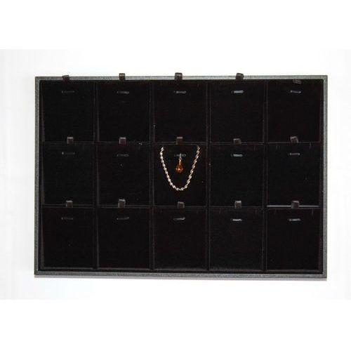 Czarna, tacka 2w1 z przegródkami do prezentacji biżuterii np. wisiorków i łańcuszków