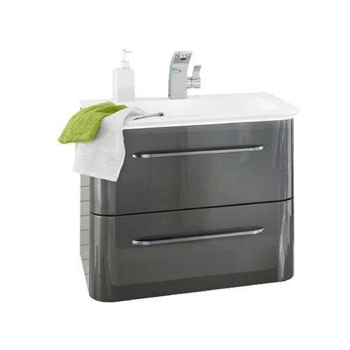 Lanzet Szafka łazienkowa z umywalką ekko 60 cm - grafit o wysokim połysku \ 60 cm \ tak