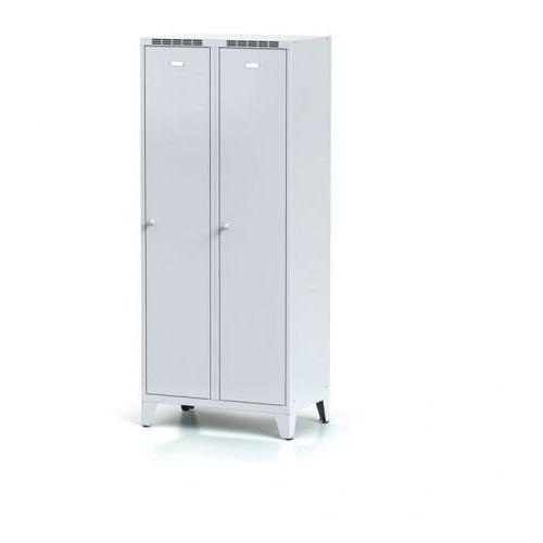 Alfa 3 Metalowa szafka ubraniowa z przegrodą, na nogach, szare drzwi, zamek cylindryczny