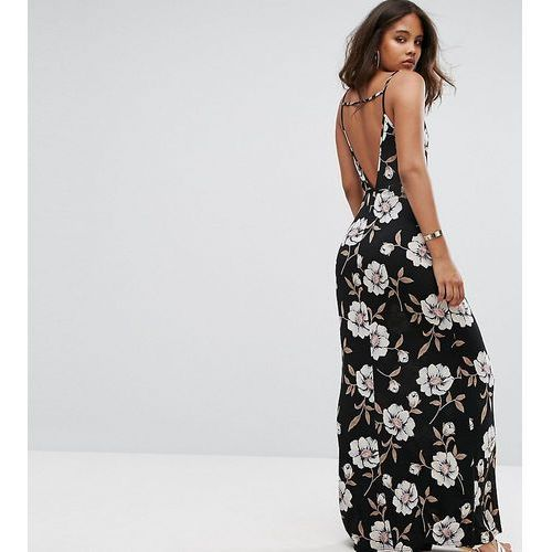Asos tall v back maxi dress in dark floral - black