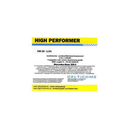 High Performer 5W-30 Longlife Mercedes+BMW 5 Litr Pojemnik