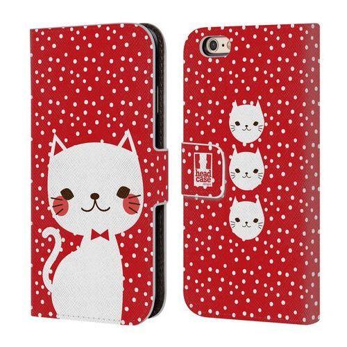 Etui portfel na telefon - Cats and Dots White Cat in Red, kolor biały