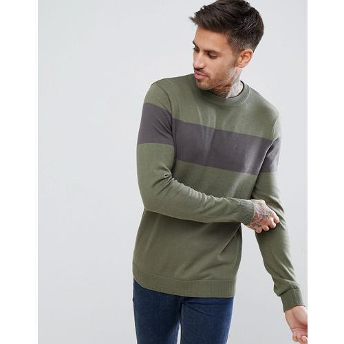 colour block jumper in khaki and grey - green marki New look