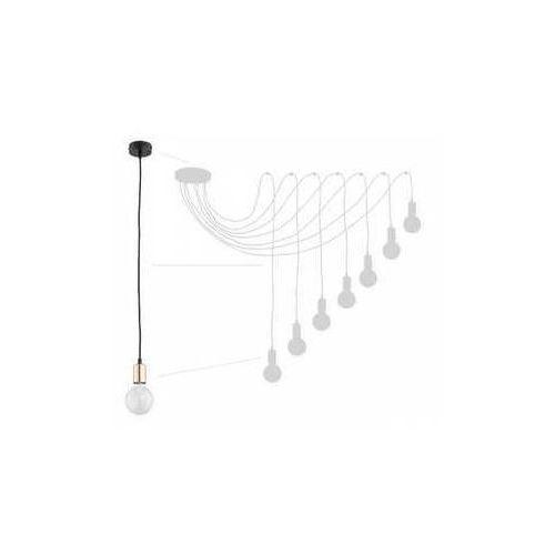 Lemir Maris O2757 W7 CZA + MIE lampa wisząca zwis pająk 7x60W E27 czarny mat / miedź