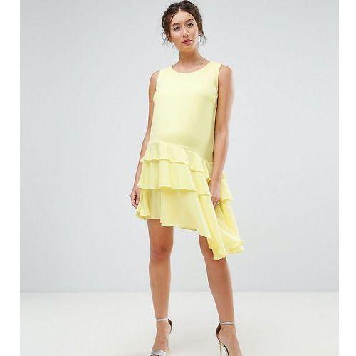 maternity asymetric ruffle hem mini dress - yellow, Queen bee