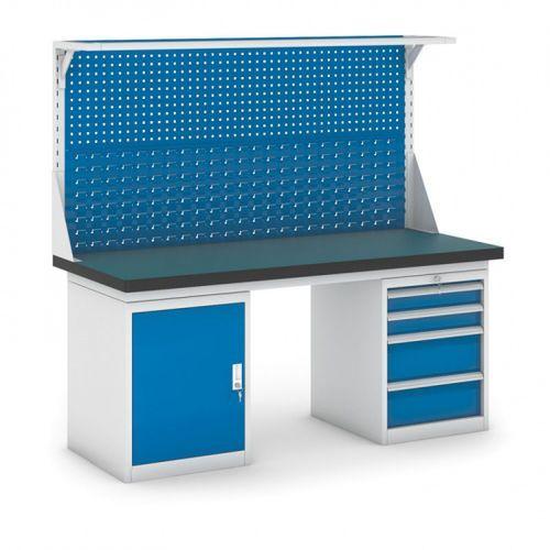 Stół warsztatowy GB z szafką, panelem i kontenerem szufladowym, 1800 mm