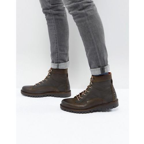 River Island Leather Lace Up Worker Boots In Khaki And Brown - Green