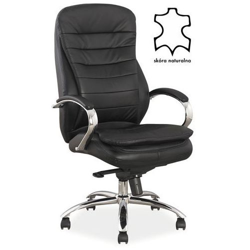 Fotel biurowy q-154 skóra naturalna czarny marki Signal