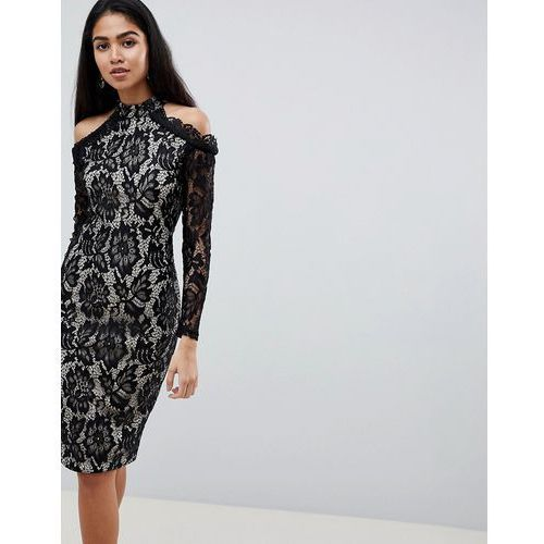 long sleeve lace pencil dress with cold shoulder - multi marki Ax paris