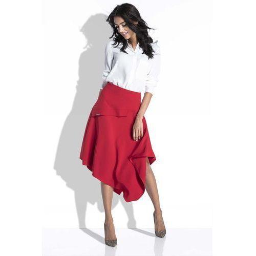 Czerwona spódnica asymetryczna midi marki Fobya