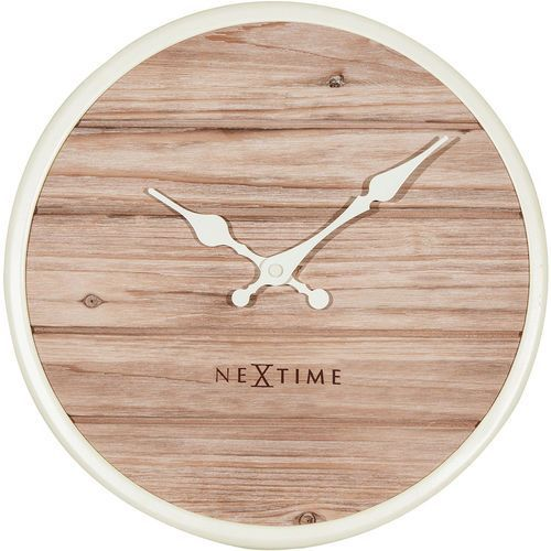 Zegar ścienny Nextime Plank 30 cm, jasny (3133 WI), kolor biały