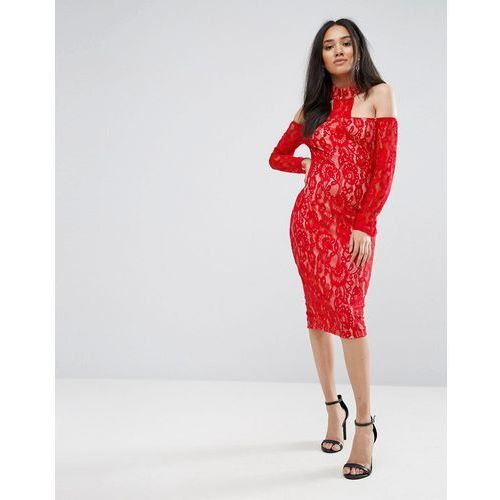 red t-bar lace choker midi dress - red, Ax paris