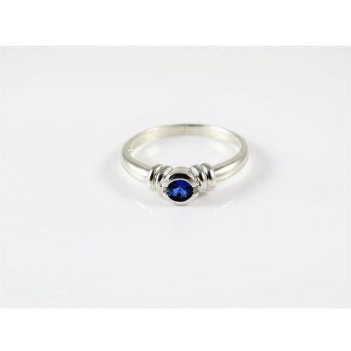 Srebrny pierścionek 925 NIEBIESKIE OCZKO r. 18